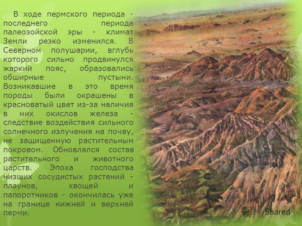 В ходе пермского периода - последнего периода палеозойской эры - климат Земли резко изменился. В Северном полушарии, вглубь которого сильно продвинулся жаркий пояс, образовались обширные пустыни. Возникавшие в это время породы были окрашены в краснов