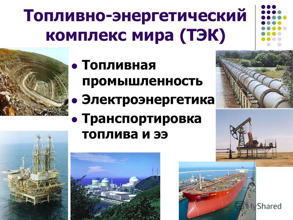 Топливно-энергетический комплекс мира (ТЭК) Топливная промышленность Электроэнергетика Транспортировка топлива и ээ
