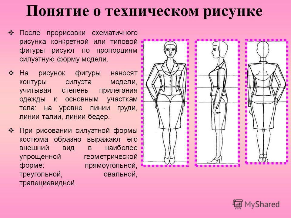 Понятие о техническом рисунке После прорисовки схематичного рисунка конкретной или типовой фигуры рисуют по пропорциям силуэтную форму модели. На рисунок фигуры наносят контуры силуэта модели, учитывая степень прилегания одежды к основным участкам те