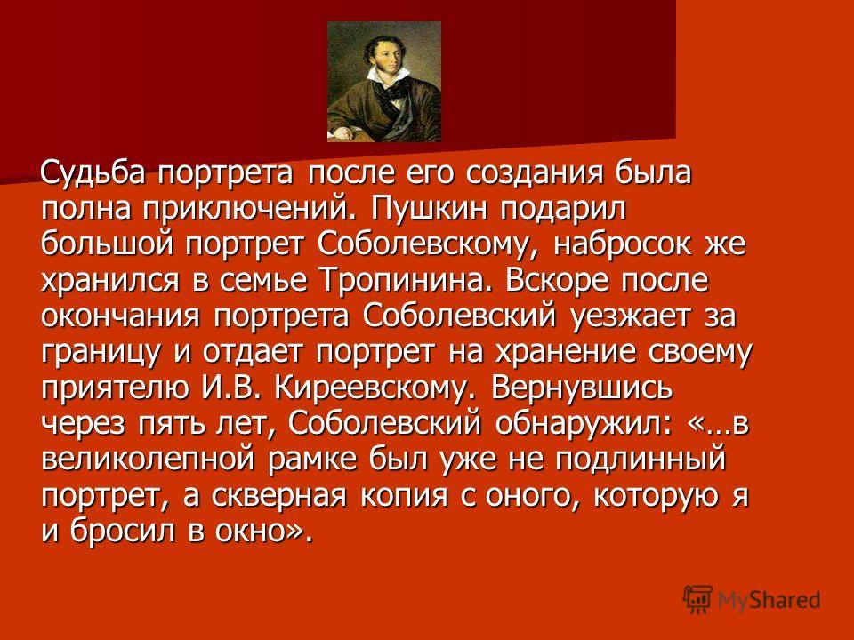 Судьба портрета после его создания была полна приключений. Пушкин подарил большой портрет Соболевскому, набросок же хранился в семье Тропинина. Вскоре после окончания портрета Соболевский уезжает за границу и отдает портрет на хранение своему приятел