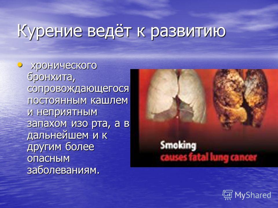 Курение ведёт к развитию хронического бронхита, сопровождающегося постоянным кашлем и неприятным запахом изо рта, а в дальнейшем и к другим более опасным заболеваниям. хронического бронхита, сопровождающегося постоянным кашлем и неприятным запахом из