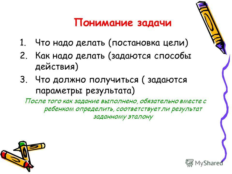 Понимание задачи 1.Что надо делать (постановка цели) 2.Как надо делать (задаются способы действия) 3.Что должно получиться ( задаются параметры результата) После того как задание выполнено, обязательно вместе с ребенком определить, соответствует ли р