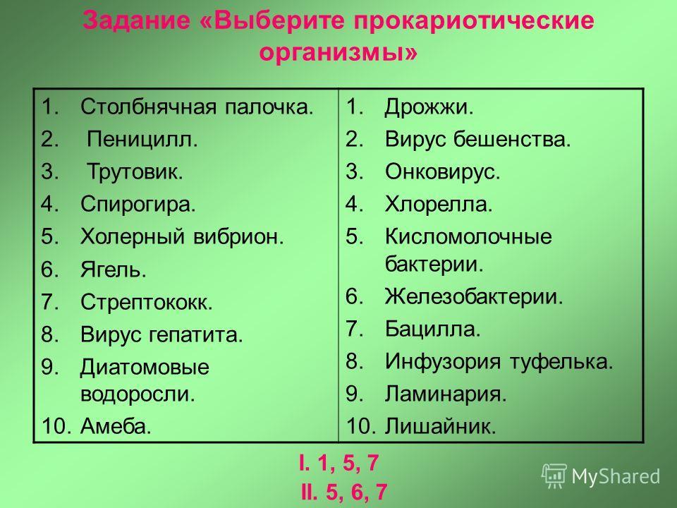 Задание «Выберите прокариотические организмы» 1.Столбнячная палочка. 2. Пеницилл. 3. Трутовик. 4.Спирогира. 5.Холерный вибрион. 6.Ягель. 7.Стрептококк. 8.Вирус гепатита. 9.Диатомовые водоросли. 10.Амеба. 1.Дрожжи. 2.Вирус бешенства. 3.Онковирус. 4.Хл