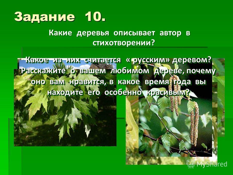 Задание 10. Какие деревья описывает автор в стихотворении? Какое из них считается « русским» деревом? Расскажите о вашем любимом дереве, почему оно вам нравится, в какое время года вы находите его особенно красивым?