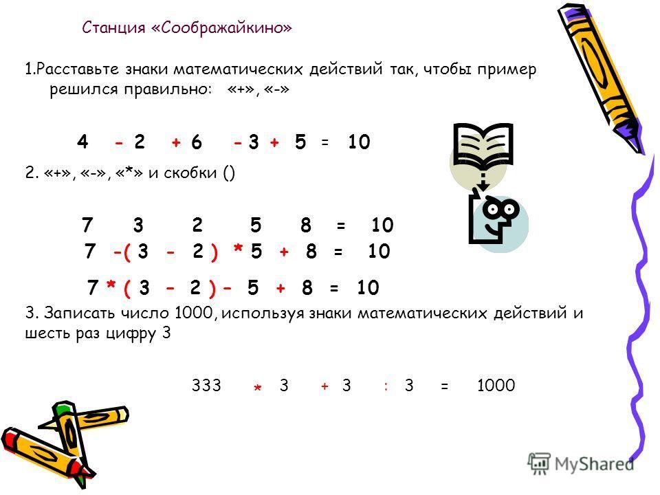 1.Расставьте знаки математических действий так, чтобы пример решился правильно: «+», «-» 4-2+6-3 + 5 = 10 2. «+», «-», «*» и скобки () 7 3 2 5 8 = 10 7 -( 3 - 2 ) * 5 + 8 = 10 3. Записать число 1000, используя знаки математических действий и шесть ра
