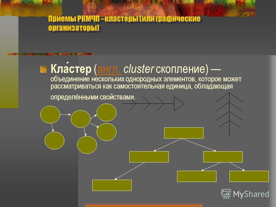 Приемы РКМЧП –кластеры (или графические организаторы) Кластер (англ. cluster скопление) объединение нескольких однородных элементов, которое может рассматриваться как самостоятельная единица, обладающая определёнными свойствами.англ.
