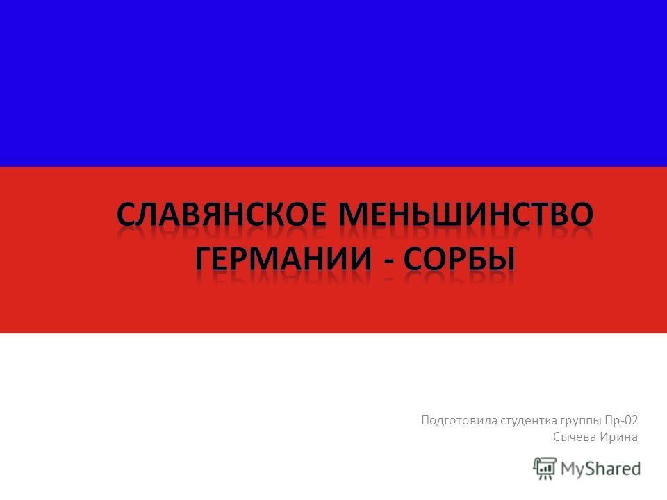 Подготовила студентка группы Пр-02 Сычева Ирина