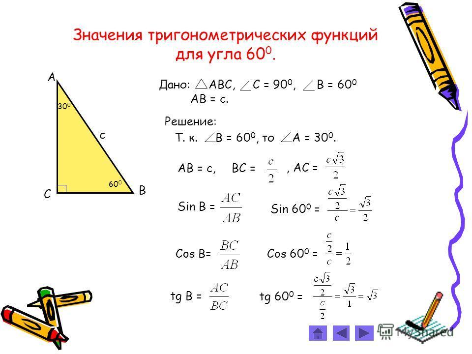 Значения тригонометрических функций для углa 60 0. Дано: АВС, С = 90 0, B = 60 0 АВ = с. С А В 30 0 с 60 0 Решение: Т. к. В = 60 0, то А = 30 0. ВС =АВ = с,, АС = Sin В = Sin 60 0 =Cos В=Cos 60 0 =tg 60 0 = tg В =