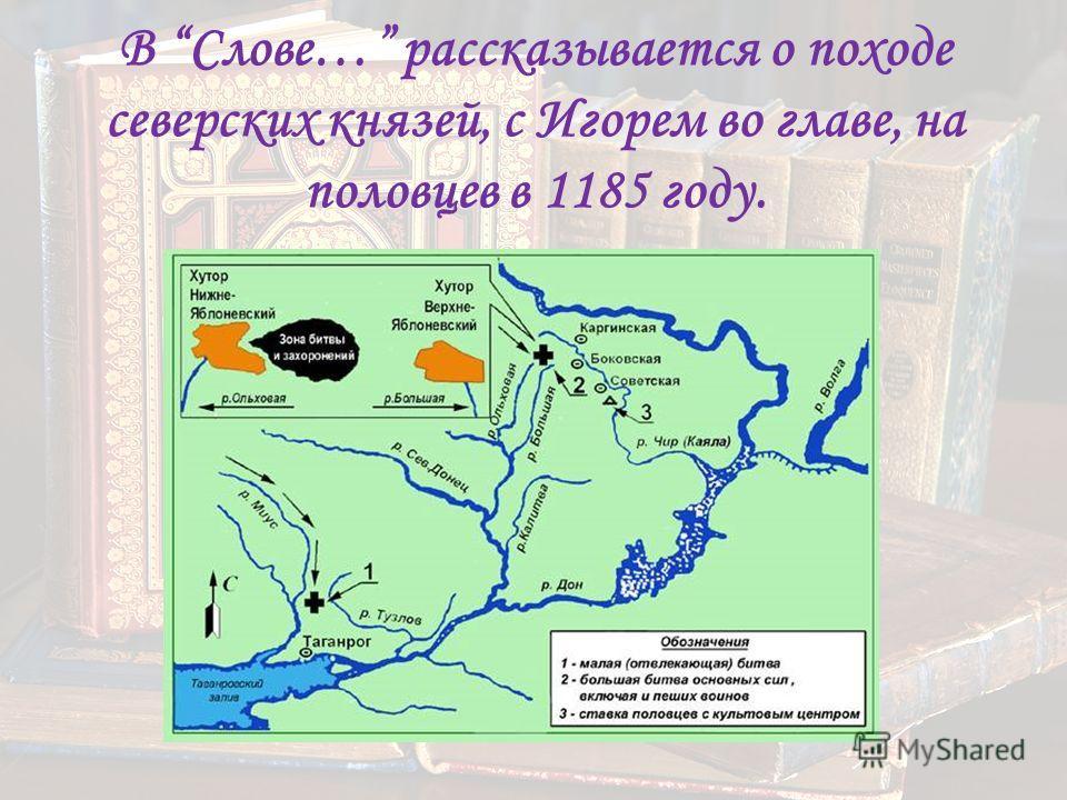 В Слове… рассказывается о походе северских князей, с Игорем во главе, на половцев в 1185 году.