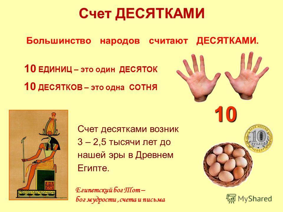 Большинство народов считают ДЕСЯТКАМИ. Счет ДЕСЯТКАМИ 10 ДЕСЯТКОВ – это одна СОТНЯ 10 ЕДИНИЦ – это один ДЕСЯТОК Счет десятками возник 3 – 2,5 тысячи лет до нашей эры в Древнем Египте. Египетский бог Тот – бог мудрости,счета и письма 10