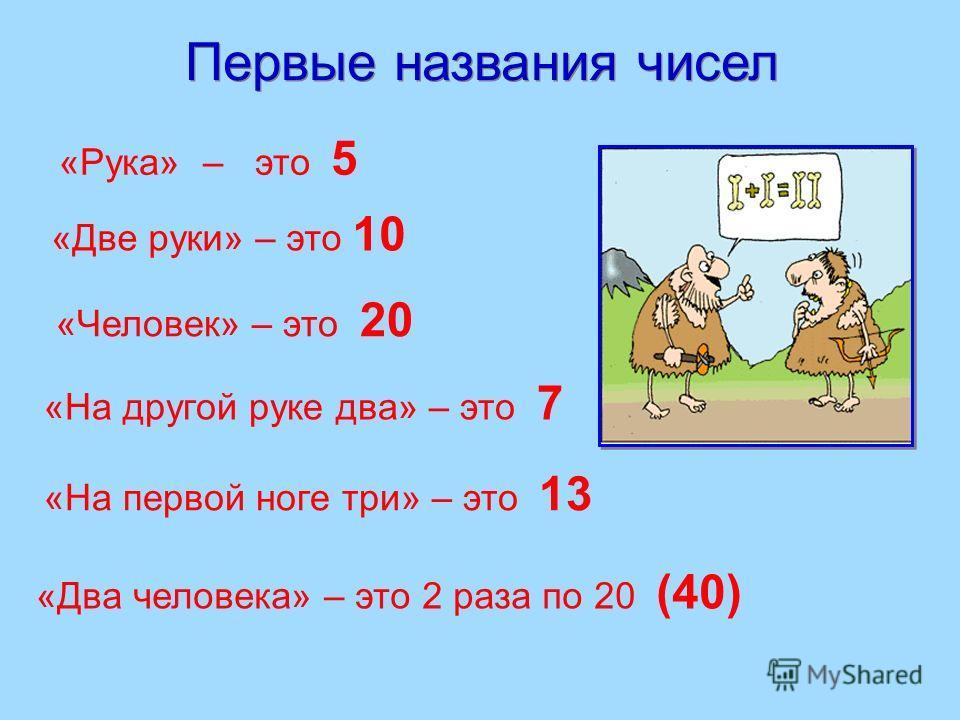 «Человек» – это 20 «Два человека» – это 2 раза по 20 (40) «Рука» – это 5 «На другой руке два» – это 7 «На первой ноге три» – это 13 Первые названия чисел «Две руки» – это 10