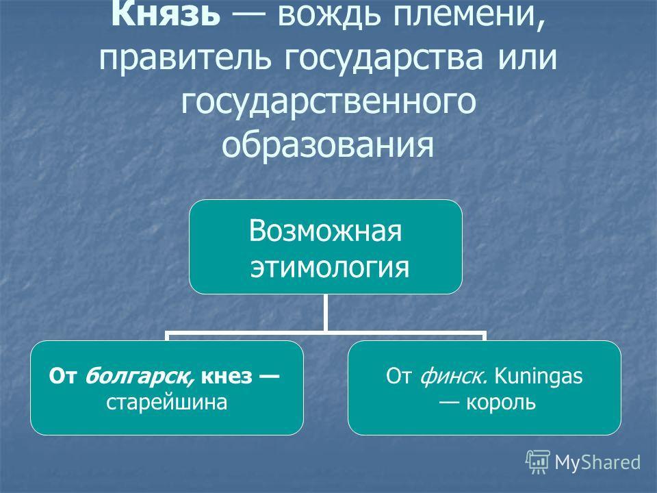 Князь вождь племени, правитель государства или государственного образования Возможная этимология От болгарск, кнез старейшина От финск. Kuningas король