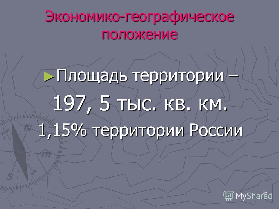 12 Экономико-географическое положение Площадь территории – Площадь территории – 197, 5 тыс. кв. км. 1,15% территории России