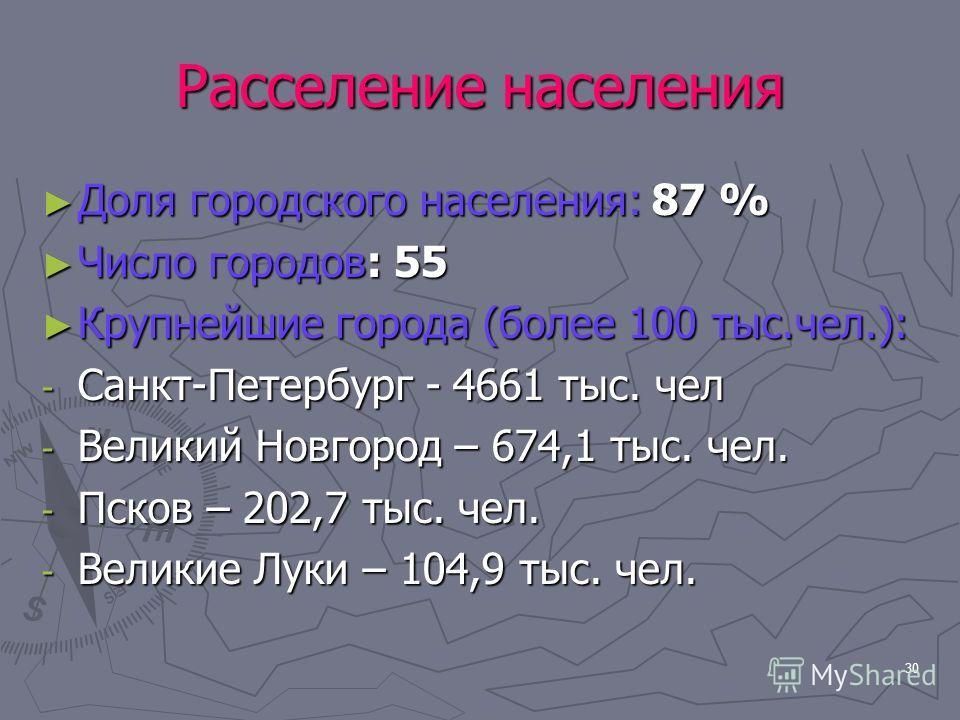 30 Расселение населения Доля городского населения: 87 % Доля городского населения: 87 % Число городов: 55 Число городов: 55 Крупнейшие города (более 100 тыс.чел.): Крупнейшие города (более 100 тыс.чел.): - Санкт-Петербург - 4661 тыс. чел - Великий Но