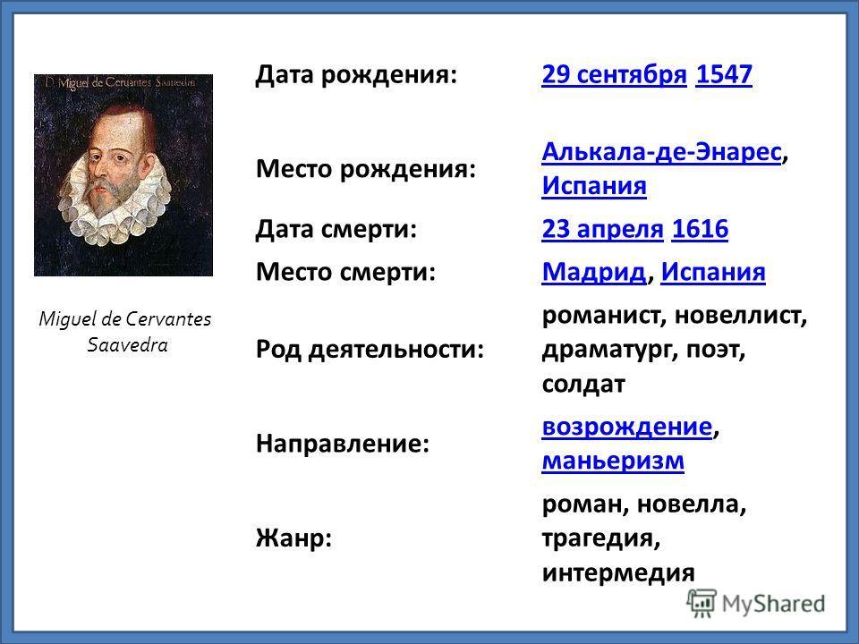 Дата рождения:29 сентября29 сентября 15471547 Место рождения: Алькала-де-ЭнаресАлькала-де-Энарес, Испания Испания Дата смерти:23 апреля23 апреля 16161616 Место смерти:МадридМадрид, ИспанияИспания Род деятельности: романист, новеллист, драматург, поэт