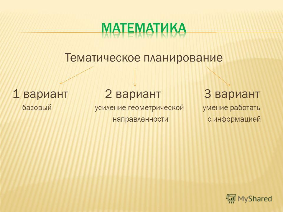 Тематическое планирование 1 вариант 2 вариант 3 вариант базовый усиление геометрической умение работать направленности с информацией