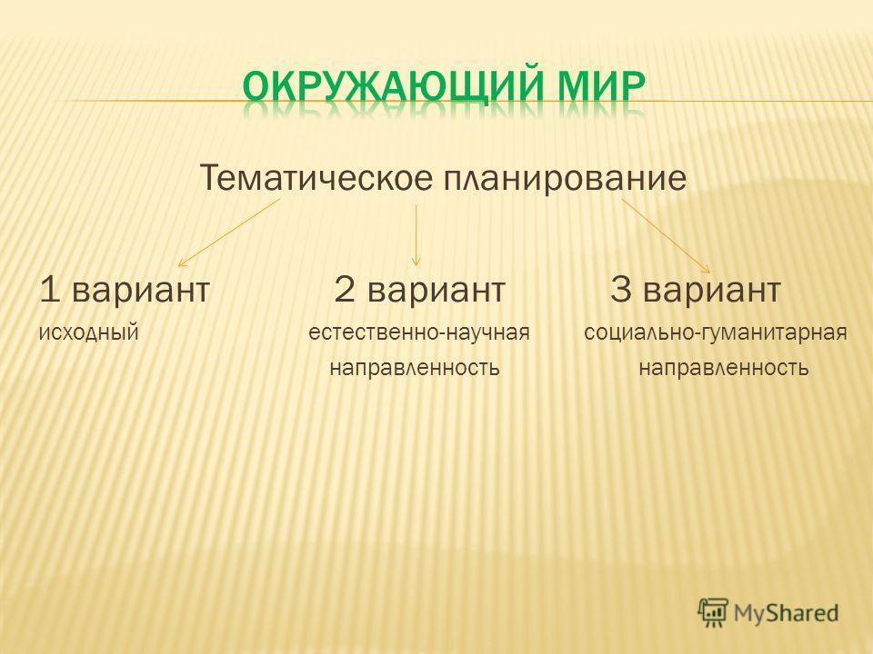 Тематическое планирование 1 вариант 2 вариант 3 вариант исходный естественно-научная социально-гуманитарная направленность направленность
