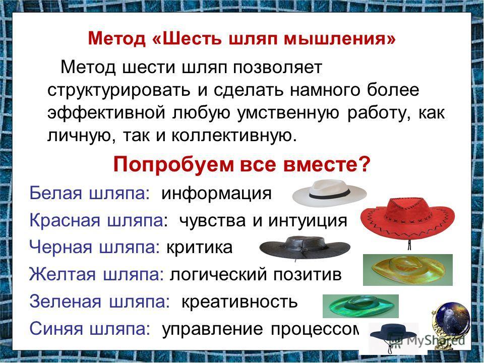 Метод «Шесть шляп мышления» Метод шести шляп позволяет структурировать и сделать намного более эффективной любую умственную работу, как личную, так и коллективную. Попробуем все вместе? Белая шляпа: информация Красная шляпа: чувства и интуиция Черная
