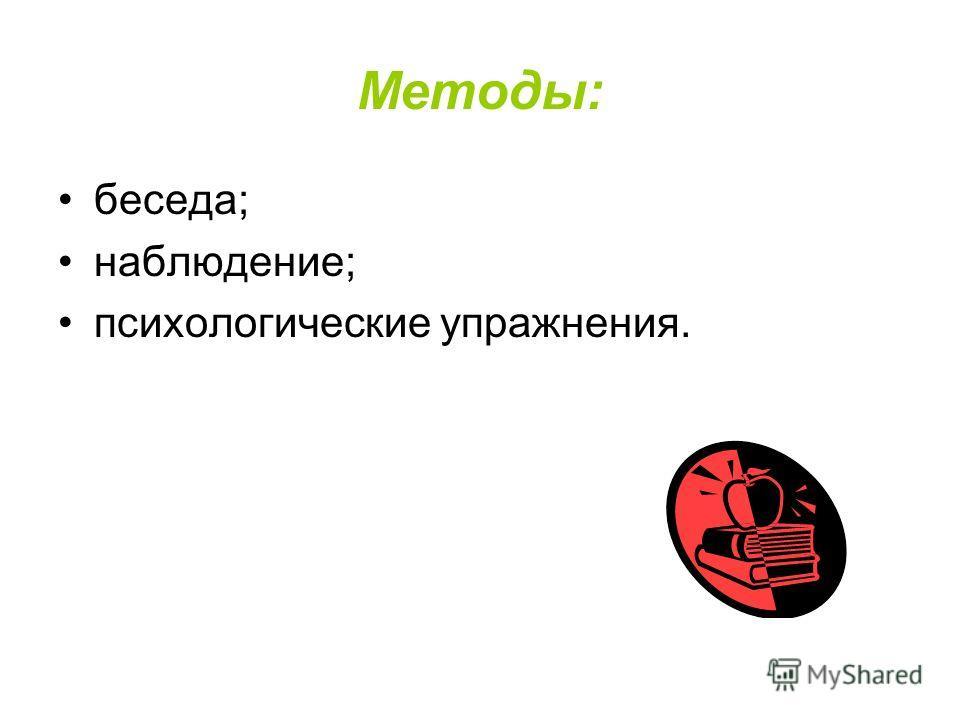 Методы: беседа; наблюдение; психологические упражнения.