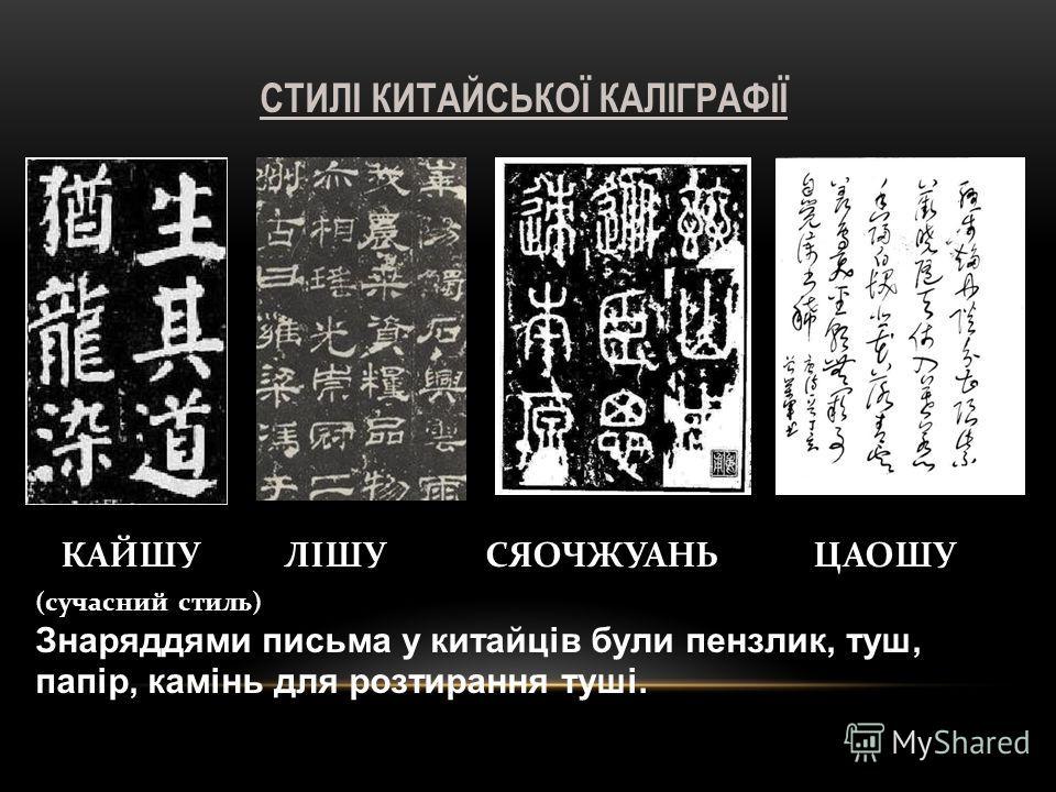 КАЙШУ ЛІШУ СЯОЧЖУАНЬ ЦАОШУ (сучасний стиль) Знаряддями письма у китайців були пензлик, туш, папір, камінь для розтирання туші. СТИЛІ КИТАЙСЬКОЇ КАЛІГРАФІЇ