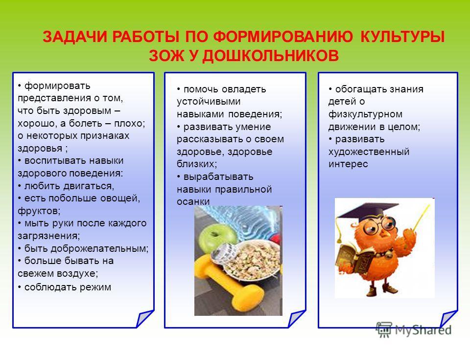 ЗАДАЧИ РАБОТЫ ПО ФОРМИРОВАНИЮ КУЛЬТУРЫ ЗОЖ У ДОШКОЛЬНИКОВ формировать представления о том, что быть здоровым – хорошо, а болеть – плохо; о некоторых признаках здоровья ; воспитывать навыки здорового поведения: любить двигаться, есть побольше овощей,