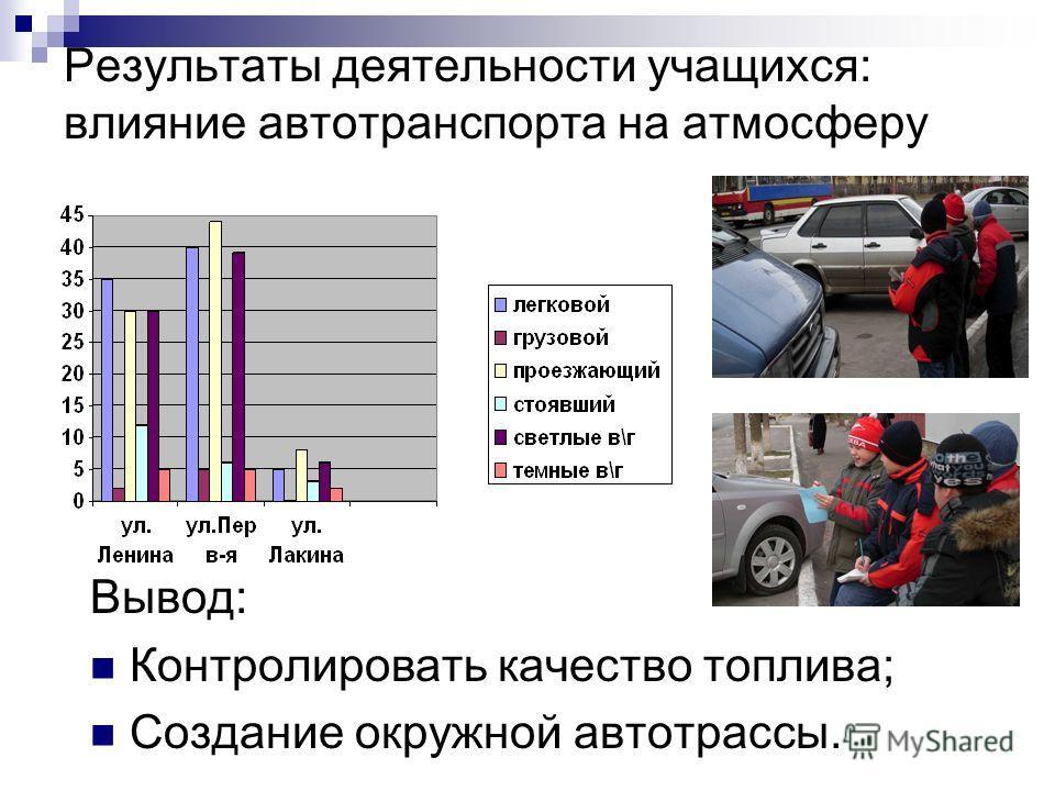 Результаты деятельности учащихся: влияние автотранспорта на атмосферу Вывод: Контролировать качество топлива; Создание окружной автотрассы.