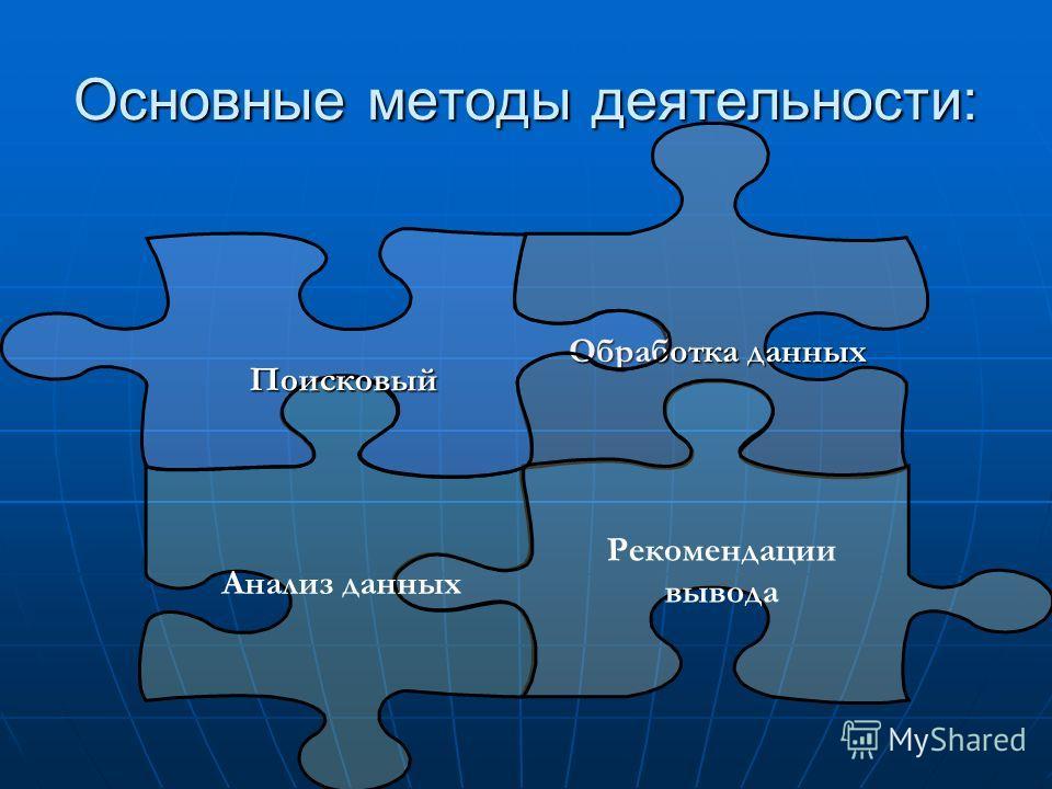 Основные методы деятельности: Обработка данных Рекомендации вывода Анализ данных Поисковый