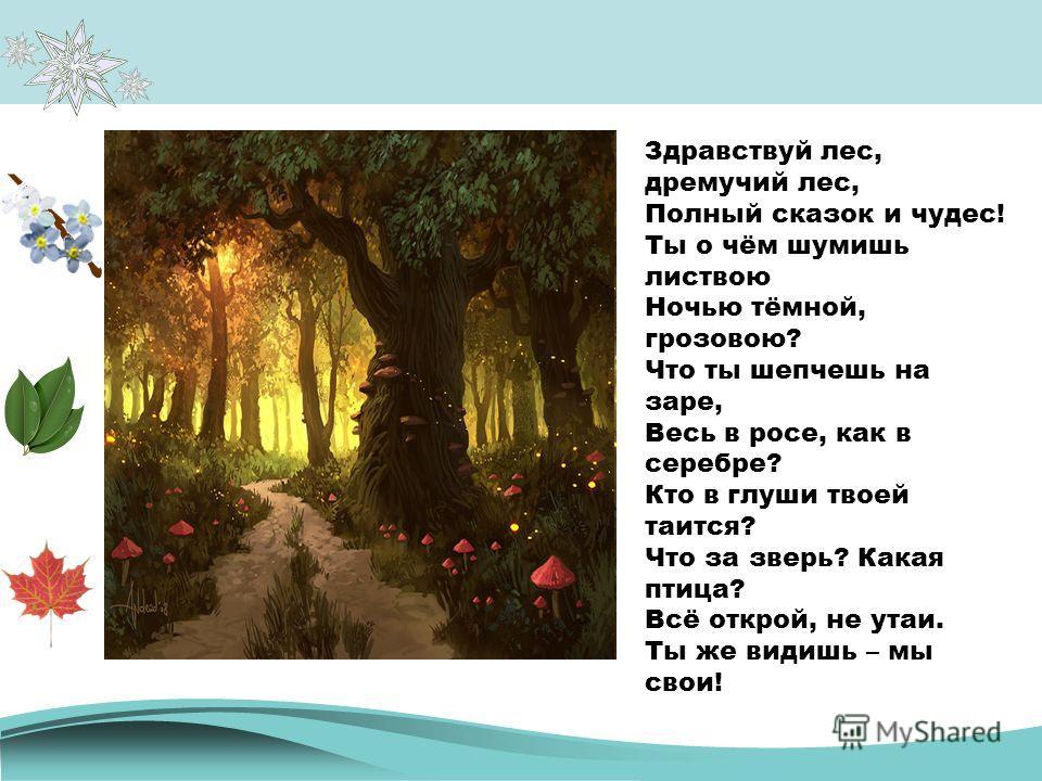 Здравствуй лес, дремучий лес, Полный сказок и чудес! Ты о чём шумишь листвою Ночью тёмной, грозовою? Что ты шепчешь на заре, Весь в росе, как в серебре? Кто в глуши твоей таится? Что за зверь? Какая птица? Всё открой, не утаи. Ты же видишь – мы свои!