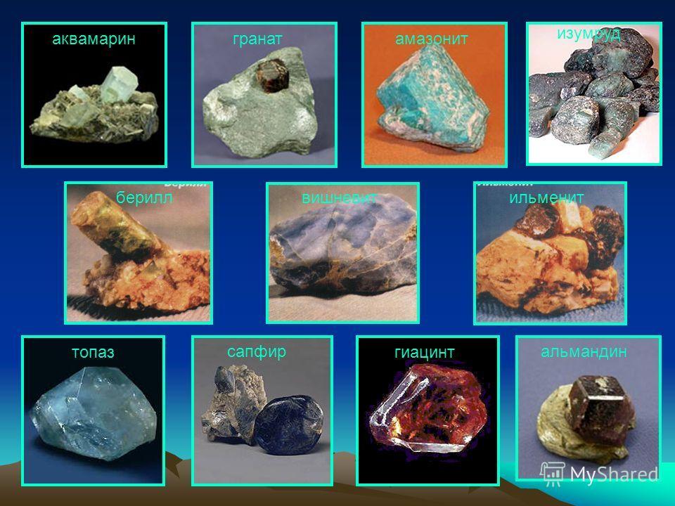 топаз сапфиральмандин гранат изумруд гиацинт амазонитаквамарин бериллильменитвишневит