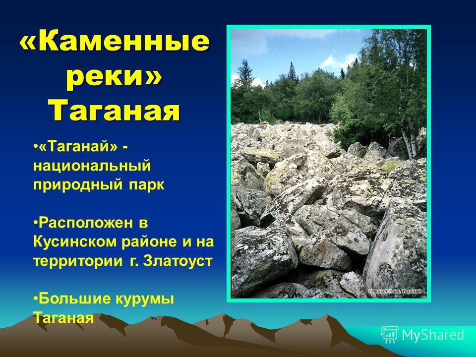 «Каменные реки» Таганая «Таганай» - национальный природный парк Расположен в Кусинском районе и на территории г. Златоуст Большие курумы Таганая