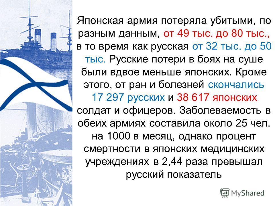 Японская армия потеряла убитыми, по разным данным, от 49 тыс. до 80 тыс., в то время как русская от 32 тыс. до 50 тыс. Русские потери в боях на суше были вдвое меньше японских. Кроме этого, от ран и болезней скончались 17 297 русских и 38 617 японски