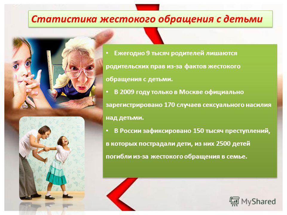 Статистика жестокого обращения с детьми Ежегодно 9 тысяч родителей лишаются родительских прав из-за фактов жестокого обращения с детьми. В 2009 году только в Москве официально зарегистрировано 170 случаев сексуального насилия над детьми. В России заф
