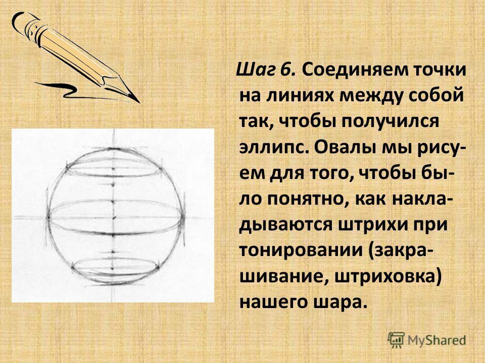 Шаг 6. Соединяем точки на линиях между собой так, чтобы получился эллипс. Овалы мы рису- ем для того, чтобы бы- ло понятно, как накла- дываются штрихи при тонировании (закра- шивание, штриховка) нашего шара.
