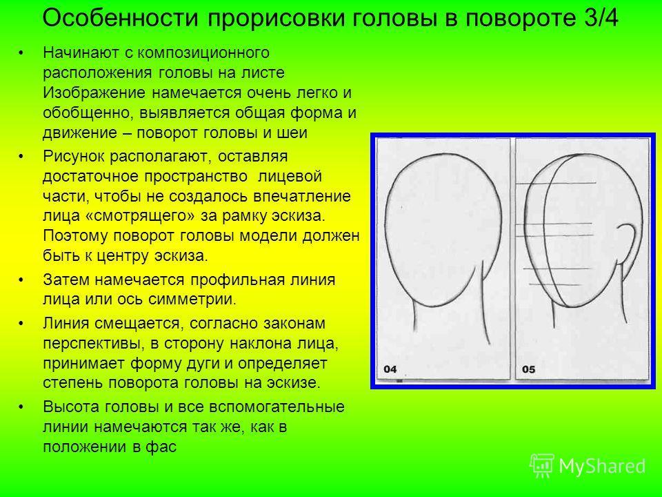 Особенности прорисовки головы в повороте 3/4 Начинают с композиционного расположения головы на листе Изображение намечается очень легко и обобщенно, выявляется общая форма и движение – поворот головы и шеи Рисунок располагают, оставляя достаточное пр