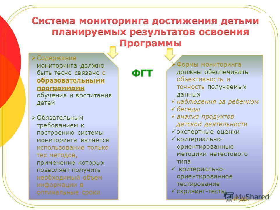 ФГТ Содержание мониторинга должно быть тесно связано с образовательными программами обучения и воспитания детей Обязательным требованием к построению системы мониторинга является использование только тех методов, применение которых позволяет получить