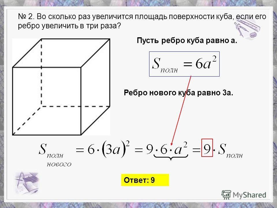 2. Во сколько раз увеличится площадь поверхности куба, если его ребро увеличить в три раза? Пусть ребро куба равно а. Ребро нового куба равно 3а. Ответ: 9