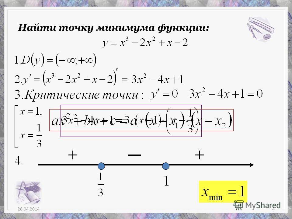 28.04.20144 Найти точку минимума функции: