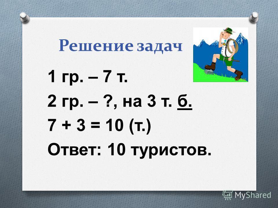 Решение задач 1 г р. – 7 т. 2 г р. – ?, н а 3 т. б. 7 + 3 = 10 ( т.) Ответ : 10 т уристов.