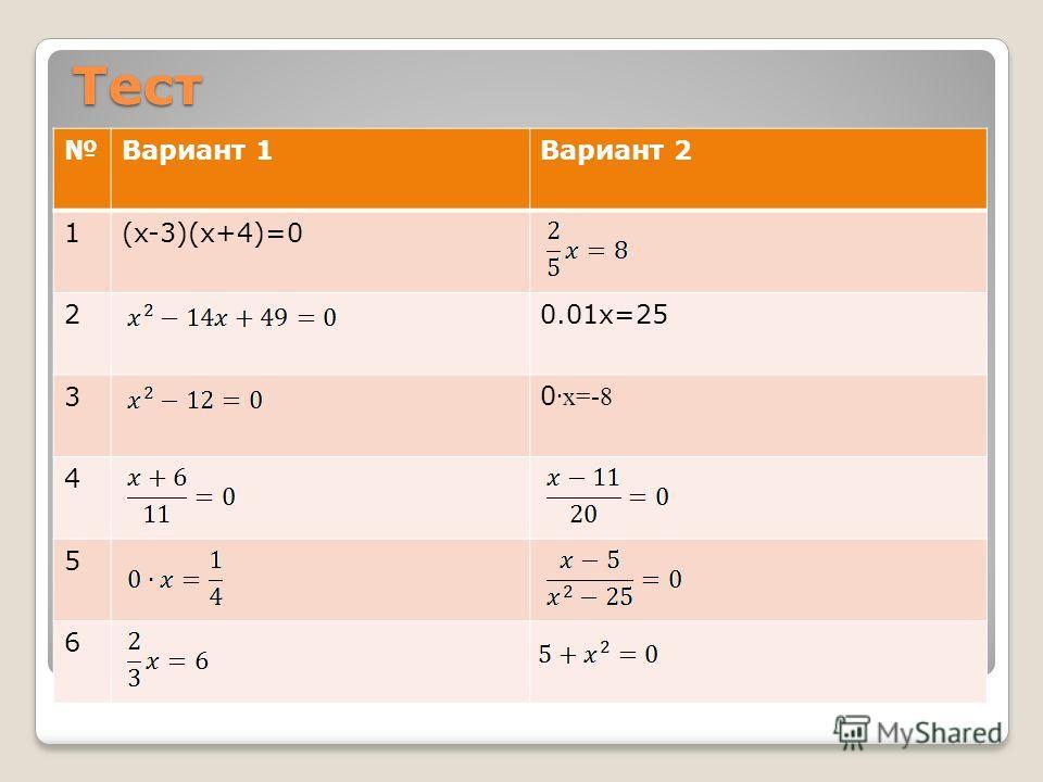 Тест Вариант 1Вариант 2 1(x-3)(x+4)=0 20.01x=25 30 x=-8 4 5 6