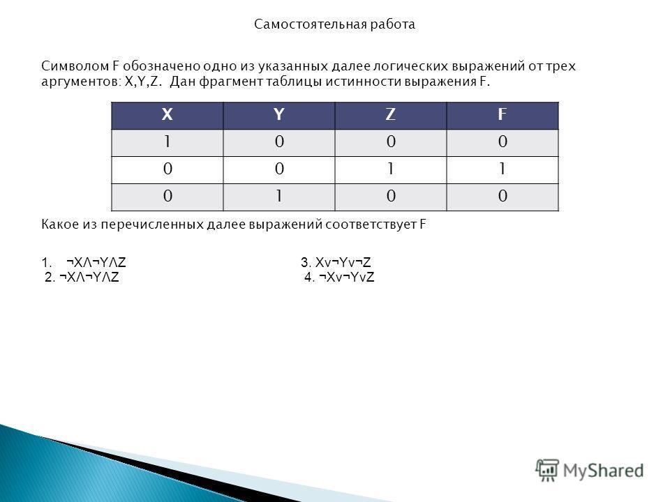 Самостоятельная работа Символом F обозначено одно из указанных далее логических выражений от трех аргументов: X,Y,Z. Дан фрагмент таблицы истинности выражения F. XYZF 1000 0011 0100 Какое из перечисленных далее выражений соответствует F 1.¬XΛ¬YΛZ 3.