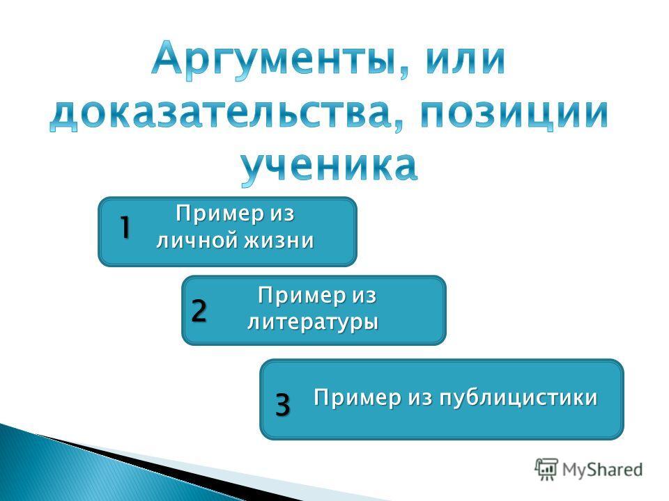 Пример из литературы Пример из литературы Пример из публицистики Пример из публицистики 1 2 3 Пример из личной жизни