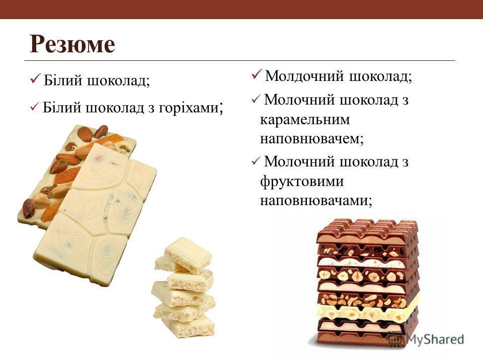 Резюме Білий шоколад; Білий шоколад з горіхами ; Молдочний шоколад; Молочний шоколад з карамельним наповнювачем; Молочний шоколад з фруктовими наповнювачами;