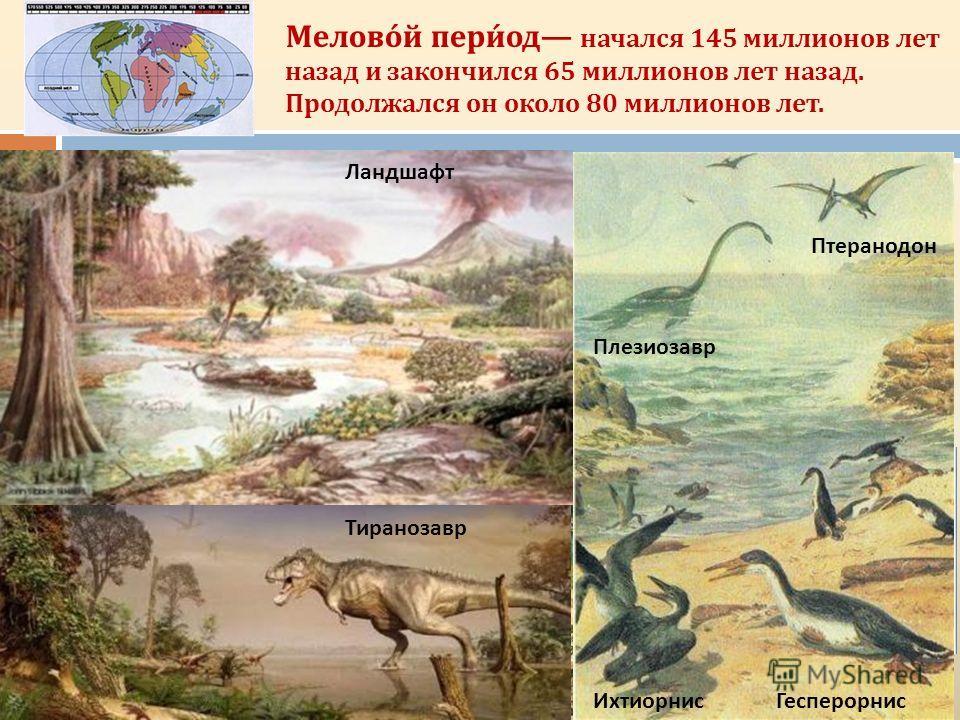 Мелово́й пери́од начался 145 миллионов лет назад и закончился 65 миллионов лет назад. Продолжался он около 80 миллионов лет. Микрораптор Игуанодон Мозазавр Аммонит. с Велоцераптр Пургаториус Птеранодон Плезиозавр Ихтиорнис Гесперорнис Ландшафт Тирано
