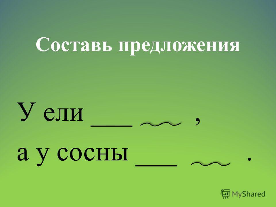 Составь предложения У ели ___, а у сосны ___.