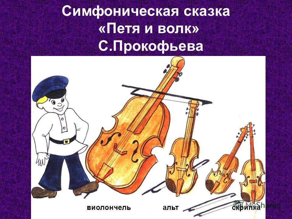 Симфоническая сказка «Петя и волк» С.Прокофьева виолончельальтскрипка