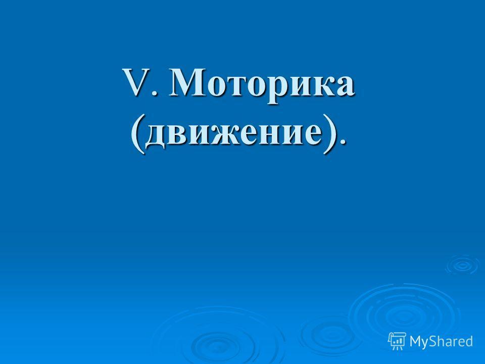 V. Моторика ( движение ).