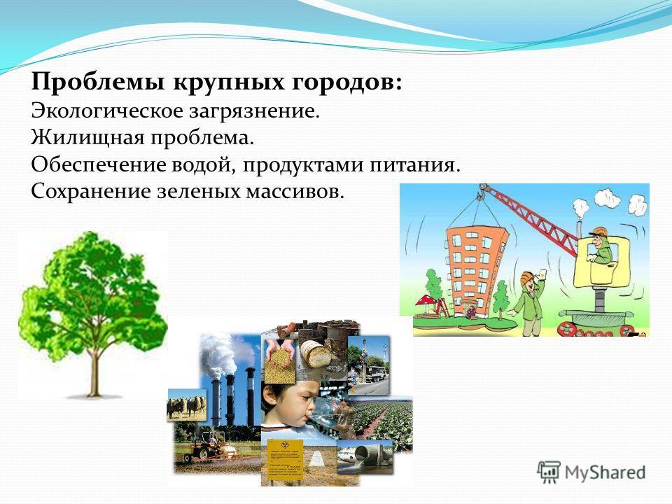 Проблемы крупных городов: Экологическое загрязнение. Жилищная проблема. Обеспечение водой, продуктами питания. Сохранение зеленых массивов.