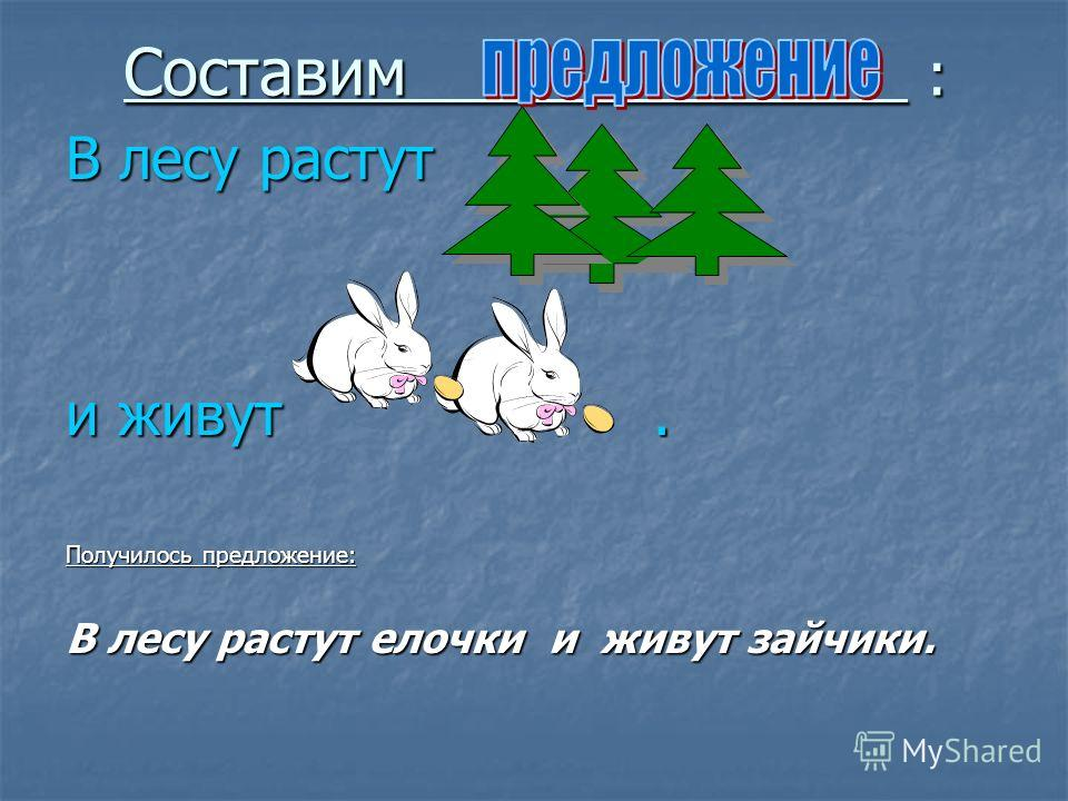 Составим : В лесу растут и живут. Получилось предложение: В лесу растут елочки и живут зайчики.