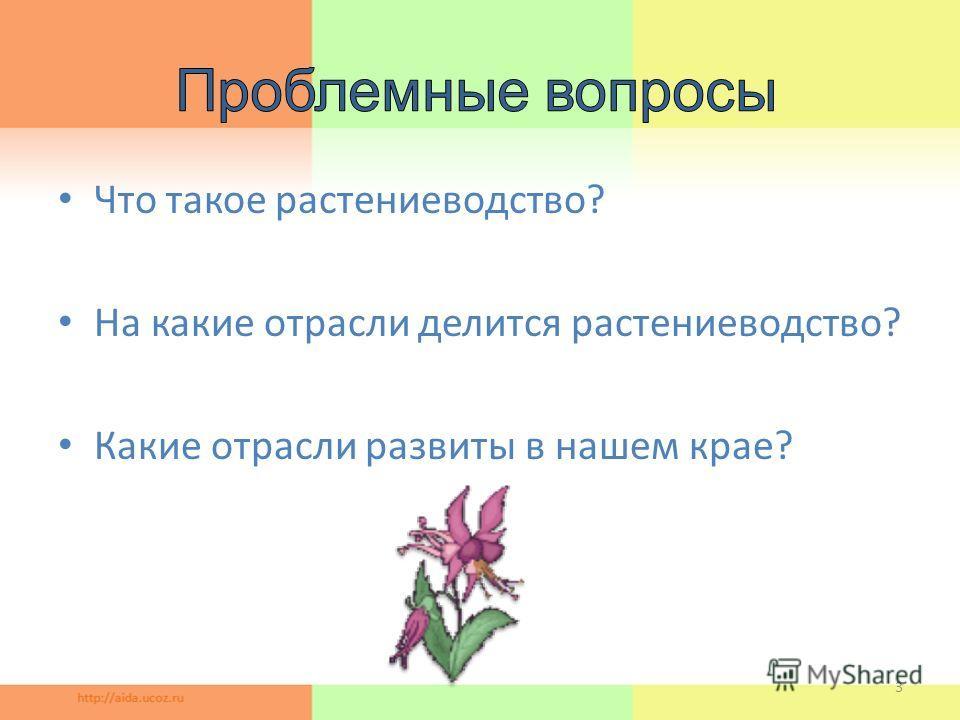 Что такое растениеводство? На какие отрасли делится растениеводство? Какие отрасли развиты в нашем крае? 3