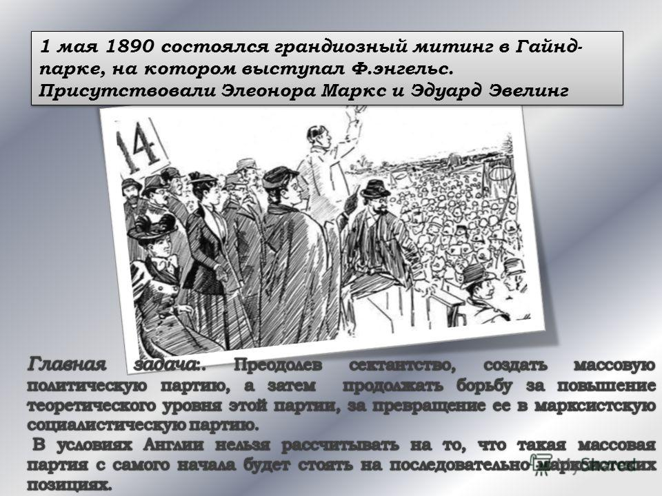 1 мая 1890 состоялся грандиозный митинг в Гайнд- парке, на котором выступал Ф.энгельс. Присутствовали Элеонора Маркс и Эдуард Эвелинг 1 мая 1890 состоялся грандиозный митинг в Гайнд- парке, на котором выступал Ф.энгельс. Присутствовали Элеонора Маркс